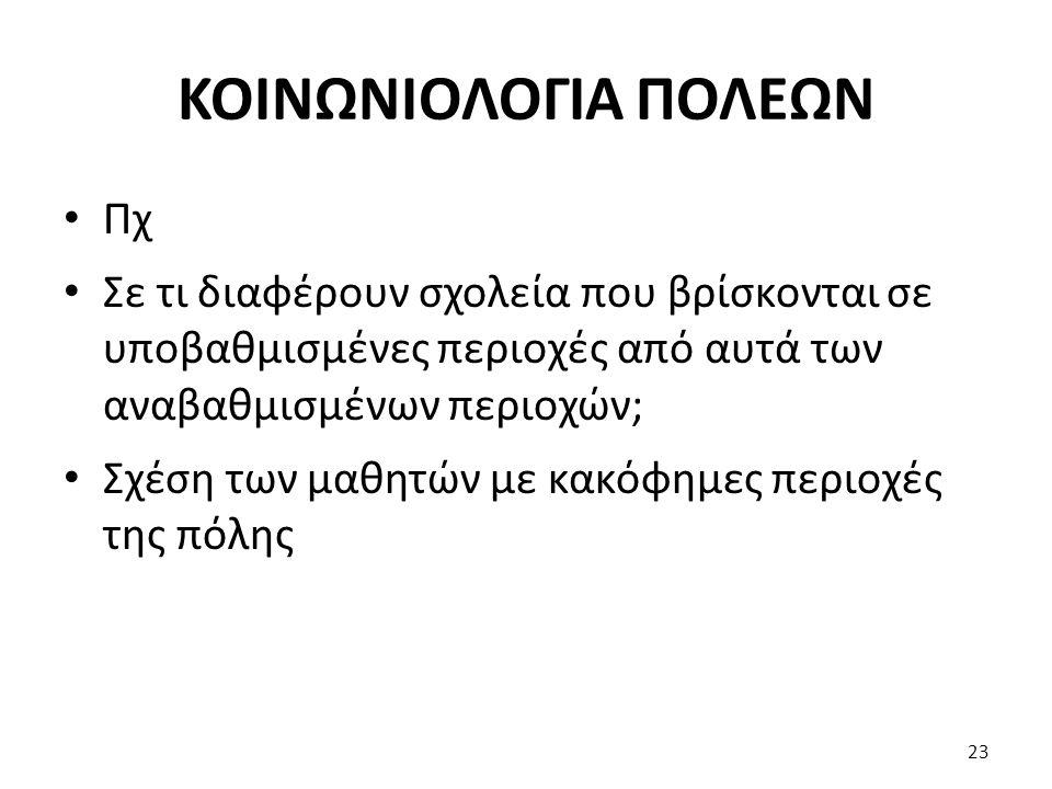 ΚΟΙΝΩΝΙΟΛΟΓΙΑ ΠΟΛΕΩΝ Πχ