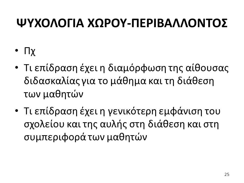 ΨΥΧΟΛΟΓΙΑ ΧΩΡΟΥ-ΠΕΡΙΒΑΛΛΟΝΤΟΣ