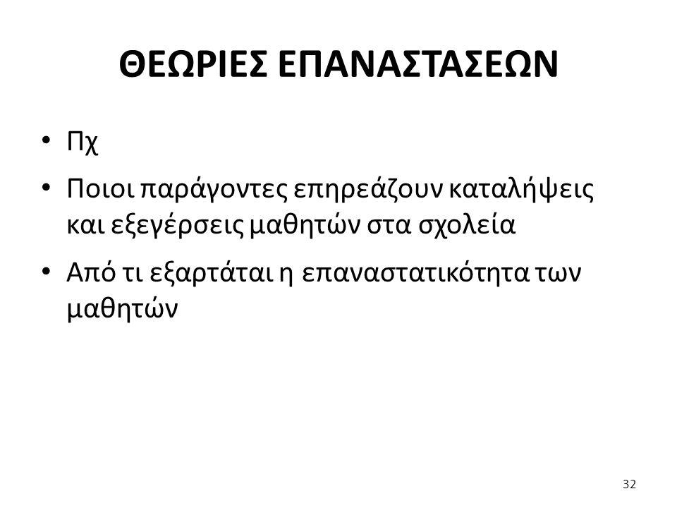 ΘΕΩΡΙΕΣ ΕΠΑΝΑΣΤΑΣΕΩΝ Πχ