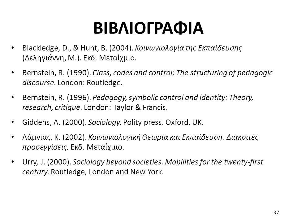 ΒΙΒΛΙΟΓΡΑΦΙΑ Blackledge, D., & Hunt, B. (2004). Κοινωνιολογία της Εκπαίδευσης (Δεληγιάννη, Μ.). Εκδ. Μεταίχμιο.