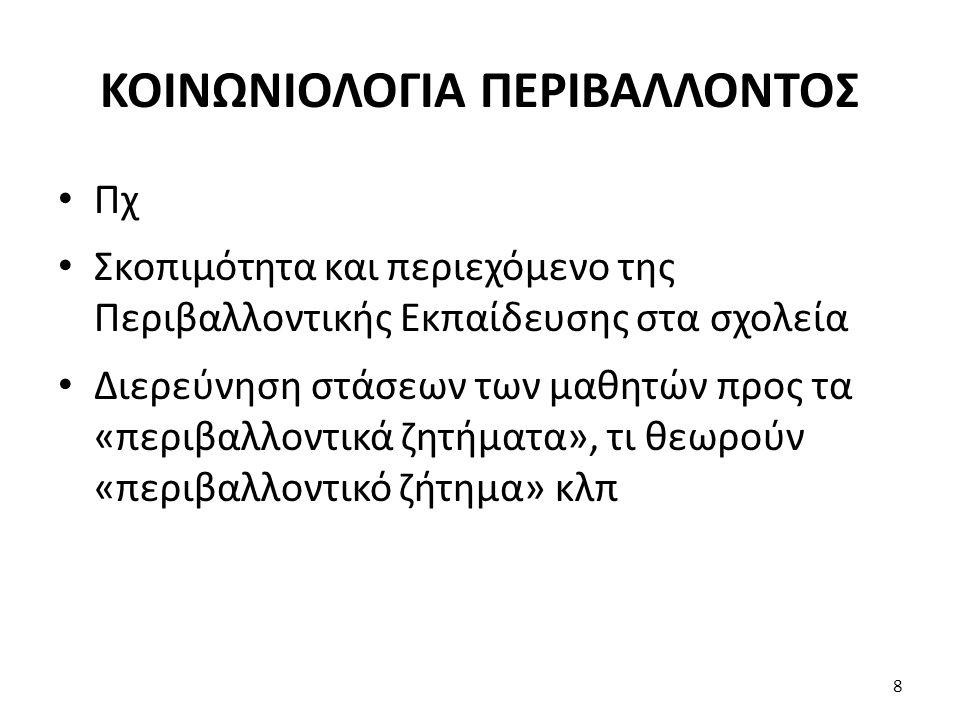 ΚΟΙΝΩΝΙΟΛΟΓΙΑ ΠΕΡΙΒΑΛΛΟΝΤΟΣ