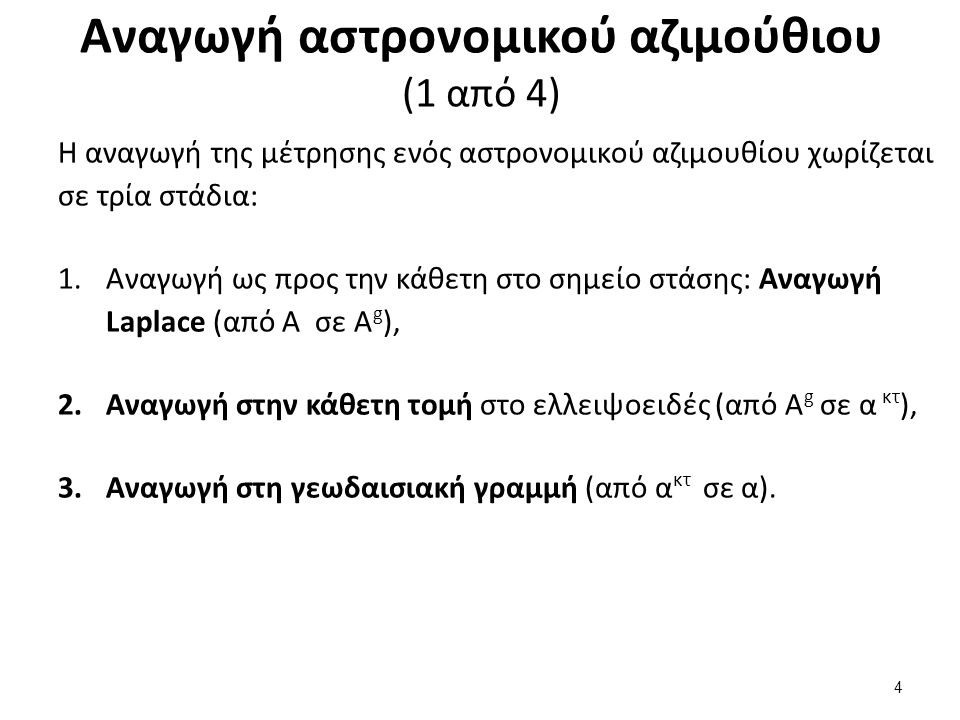Αναγωγή αστρονομικού αζιμούθιου (2 από 4)