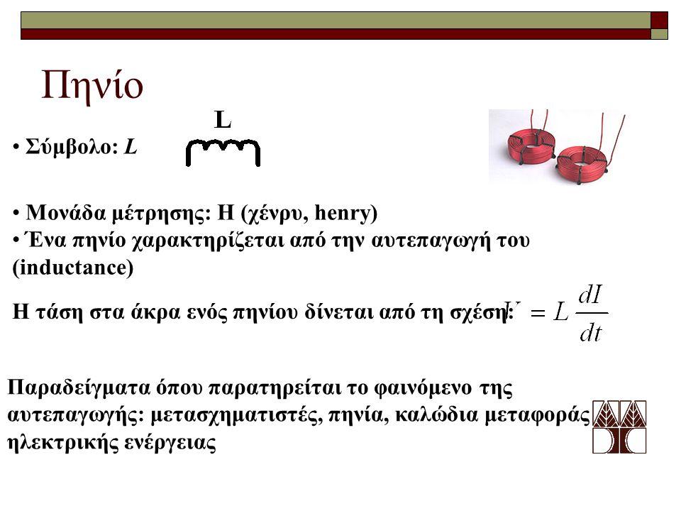 Πηνίο Σύμβολο: L Μονάδα μέτρησης: H (χένρυ, henry)