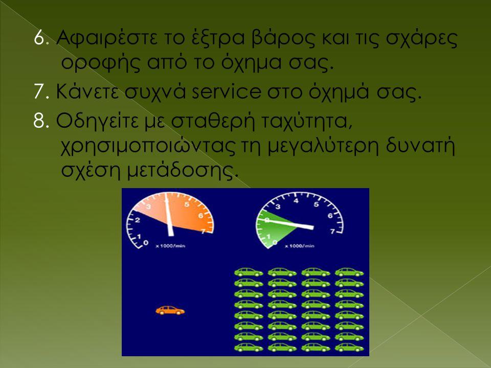 6. Αφαιρέστε το έξτρα βάρος και τις σχάρες οροφής από το όχημα σας. 7