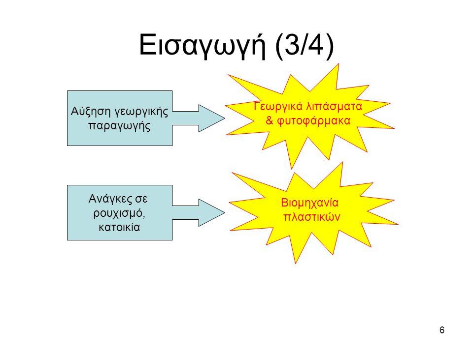 Εισαγωγή (3/4) Γεωργικά λιπάσματα & φυτοφάρμακα Αύξηση γεωργικής