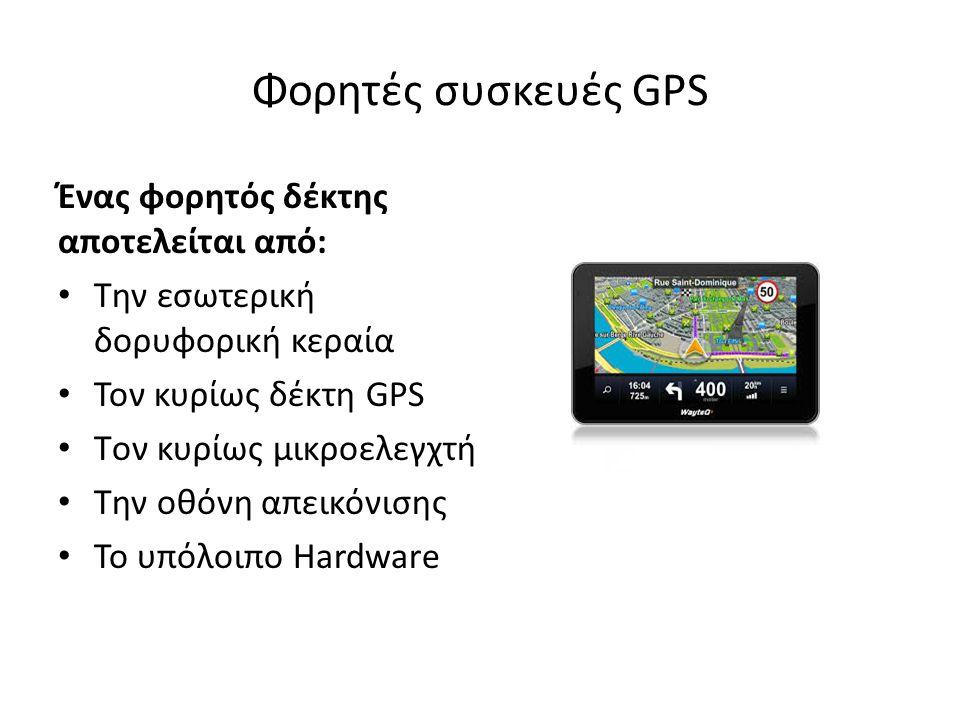 Φορητές συσκευές GPS Ένας φορητός δέκτης αποτελείται από: