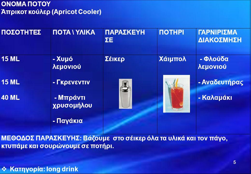 ΟΝΟΜΑ ΠΟΤΟΥ Άπρικοτ κούλερ (Apricot Cooler) ΠΟΣΟΤΗΤΕΣ. ΠΟΤΑ \ ΥΛΙΚΑ. ΠΑΡΑΣΚΕΥΗ. ΣΕ. ΠΟΤΗΡΙ. ΓΑΡΝΙΡΙΣΜΑ.