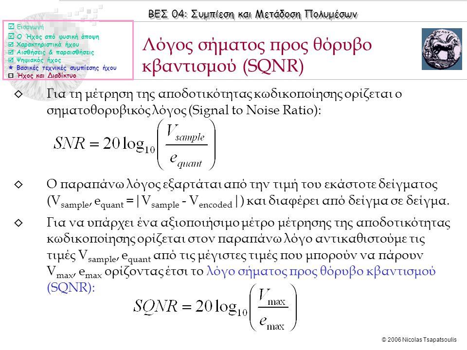 Λόγος σήματος προς θόρυβο κβαντισμού (SQNR)