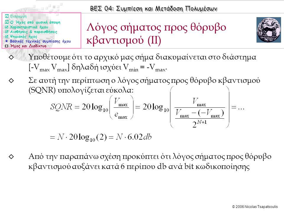 Λόγος σήματος προς θόρυβο κβαντισμού (ΙΙ)