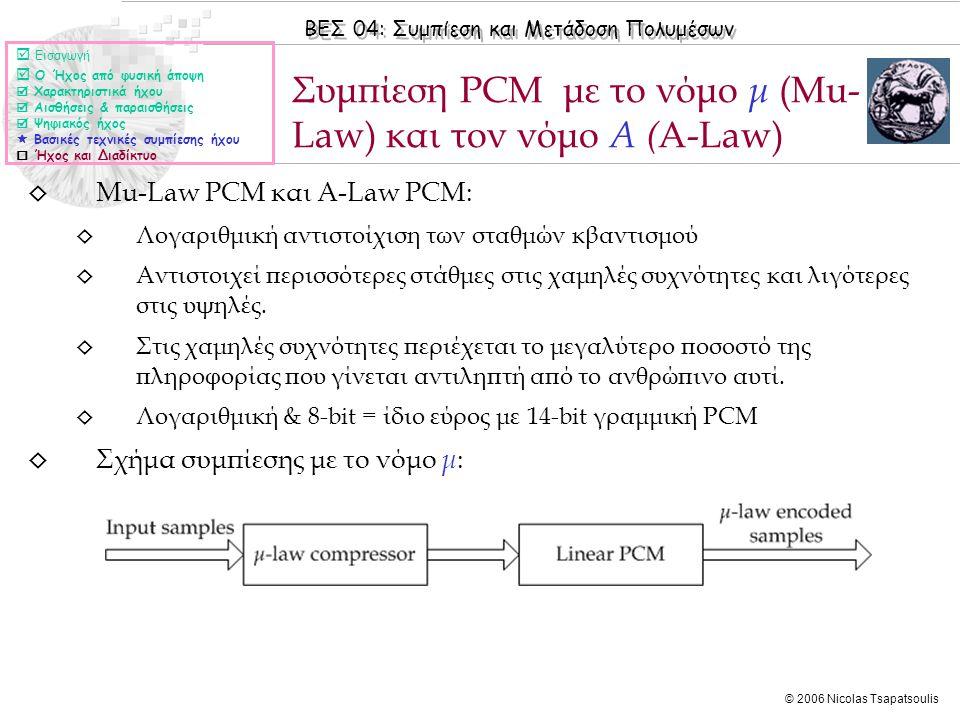 Συμπίεση PCM με το νόμο μ (Mu-Law) και τον νόμο Α (Α-Law)