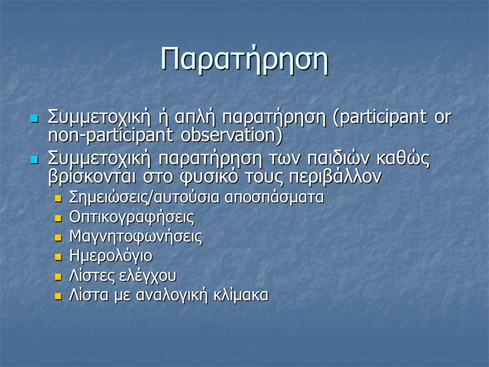 Παρατήρηση Συμμετοχική ή απλή παρατήρηση (participant or non-participant observation)