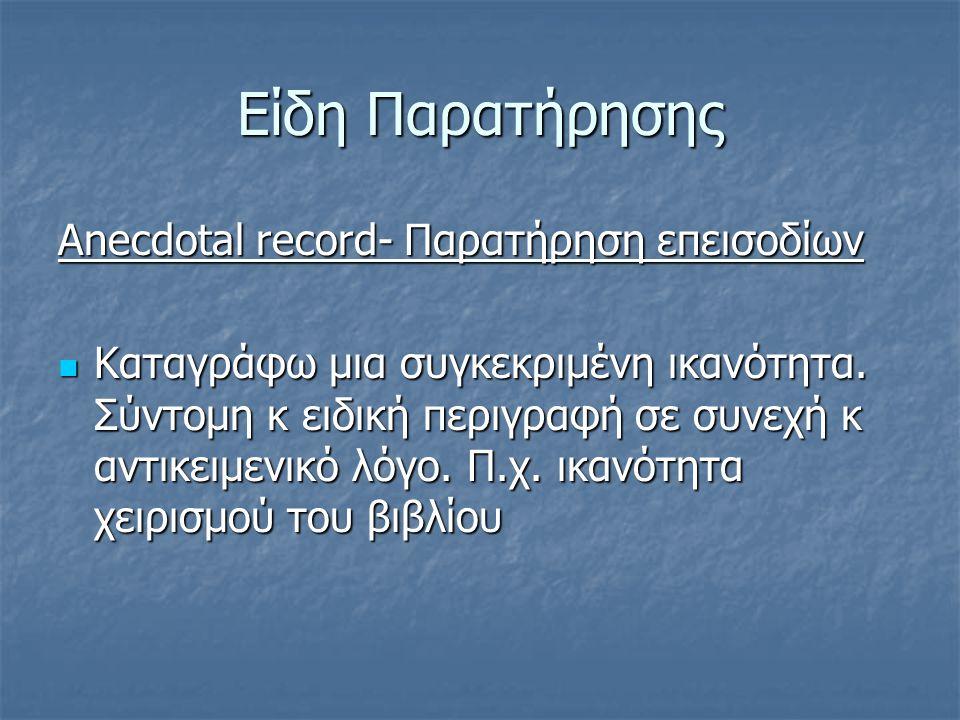 Είδη Παρατήρησης Anecdotal record- Παρατήρηση επεισοδίων
