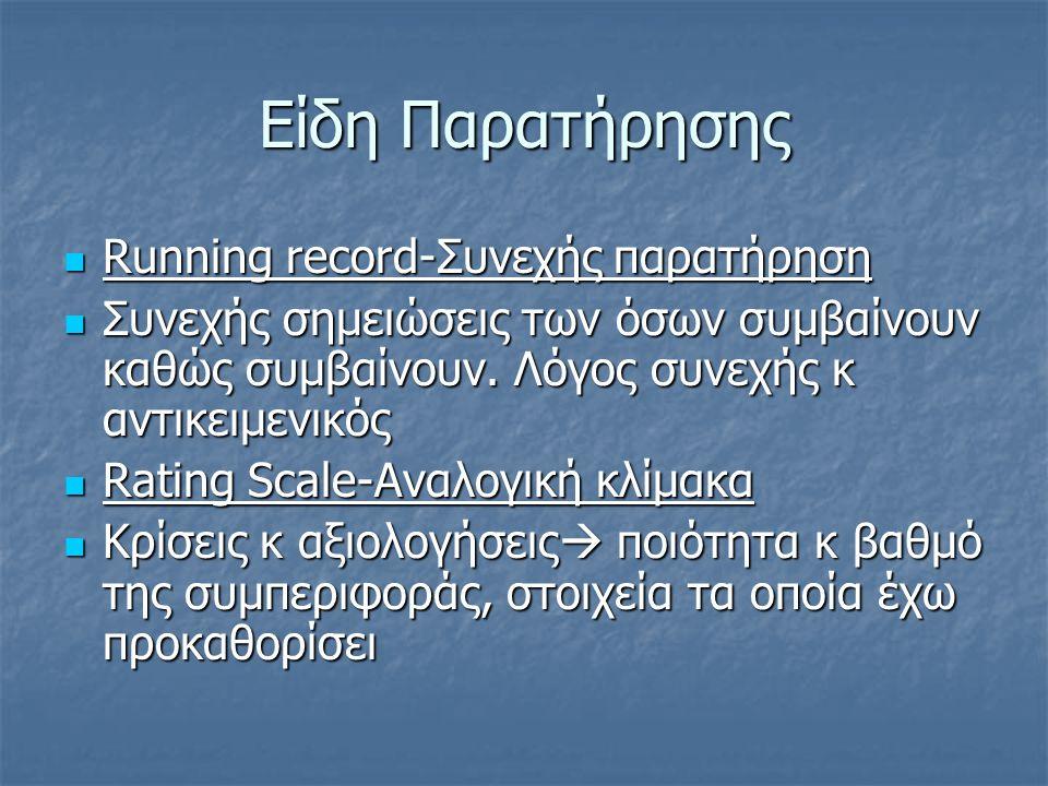 Είδη Παρατήρησης Running record-Συνεχής παρατήρηση