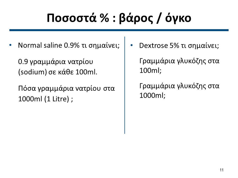 1α Ισότονα διαλύματα 5% Δεξτρόζη σε νερό, 0,9% NaCl, Ringer's Lactate