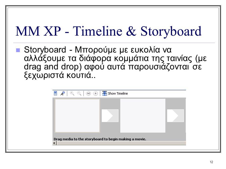 ΜΜ XP - Timeline & Storyboard