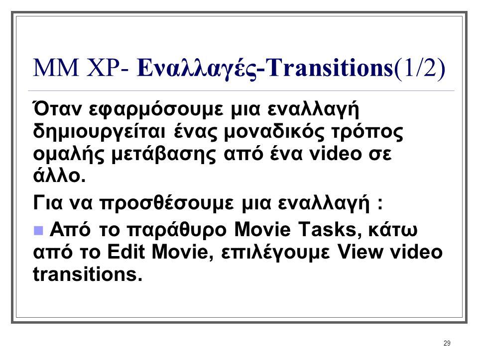 ΜΜ XP- Εναλλαγές-Transitions(1/2)
