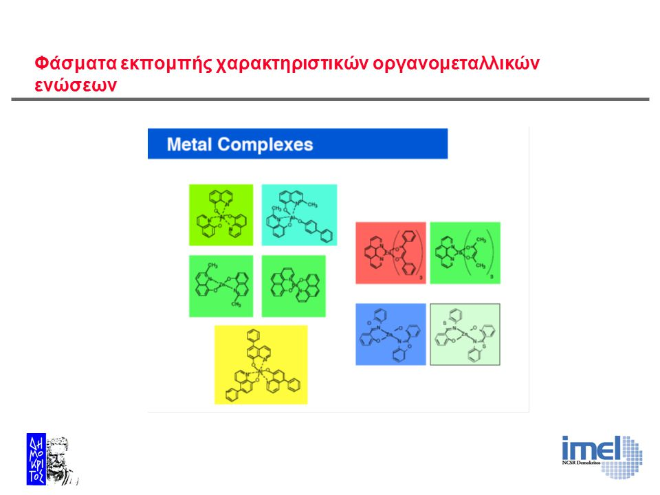 Φάσματα εκπομπής χαρακτηριστικών οργανομεταλλικών ενώσεων