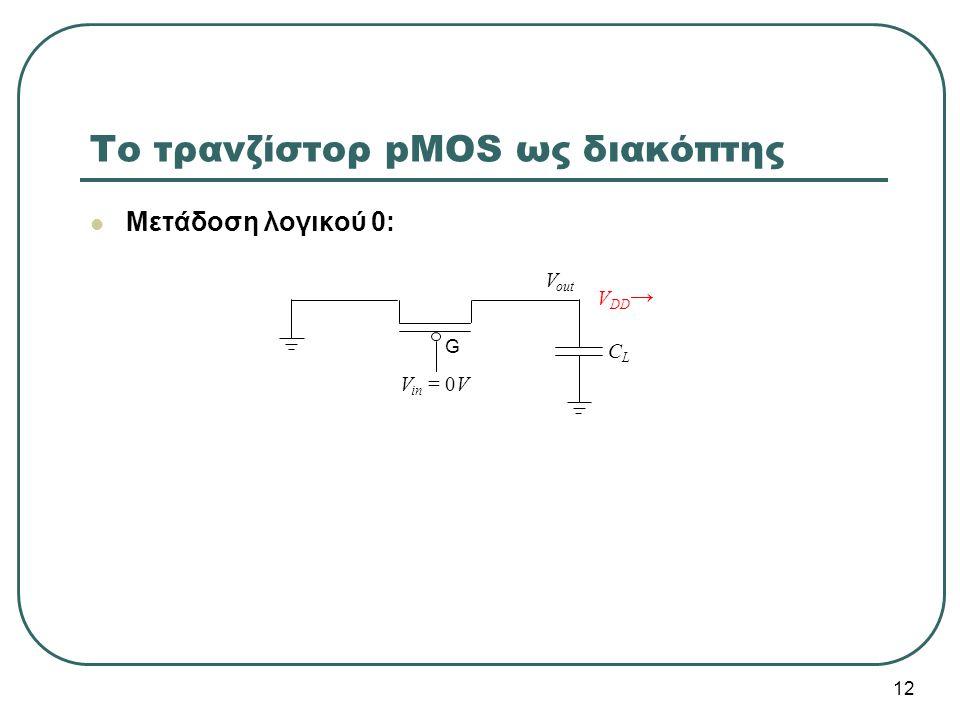 Το τρανζίστορ pMOS ως διακόπτης