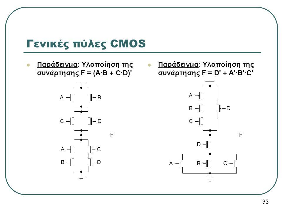 Γενικές πύλες CMOS Παράδειγμα: Υλοποίηση της συνάρτησης F = (Α·Β + C·D) Παράδειγμα: Υλοποίηση της συνάρτησης F = D + A ·B ·C