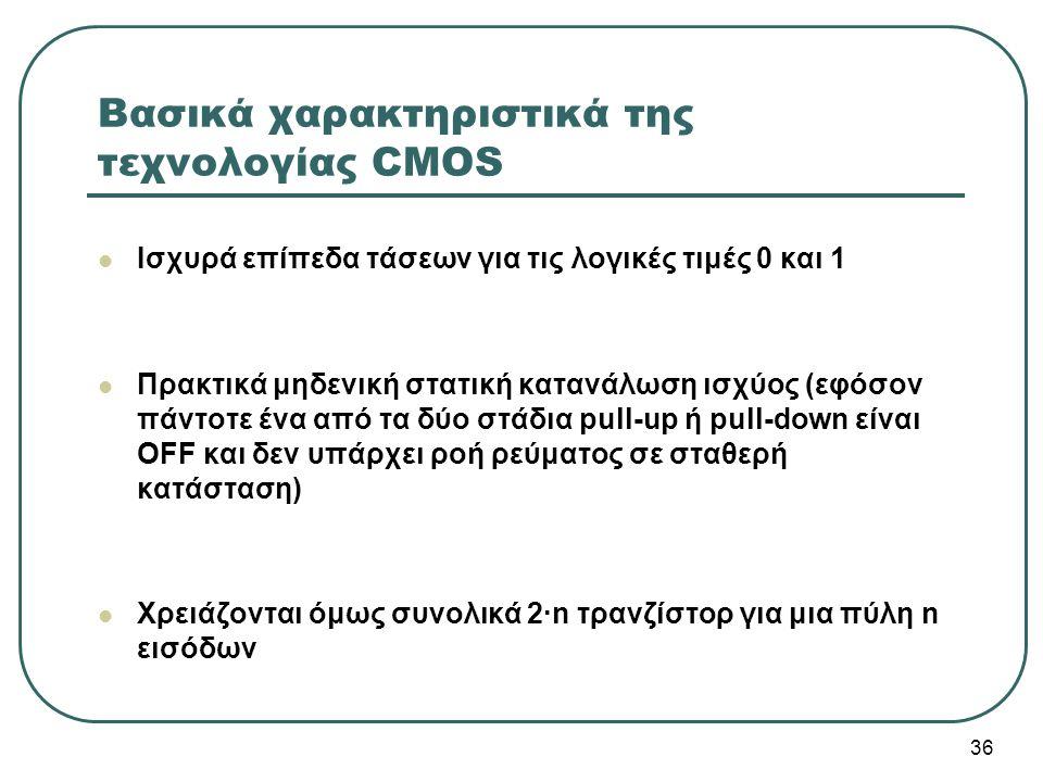 Βασικά χαρακτηριστικά της τεχνολογίας CMOS