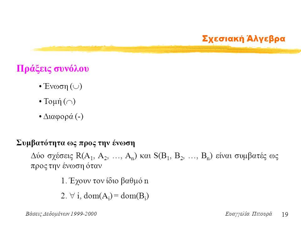 Πράξεις συνόλου Σχεσιακή Άλγεβρα Ένωση () Τομή () Διαφορά (-)