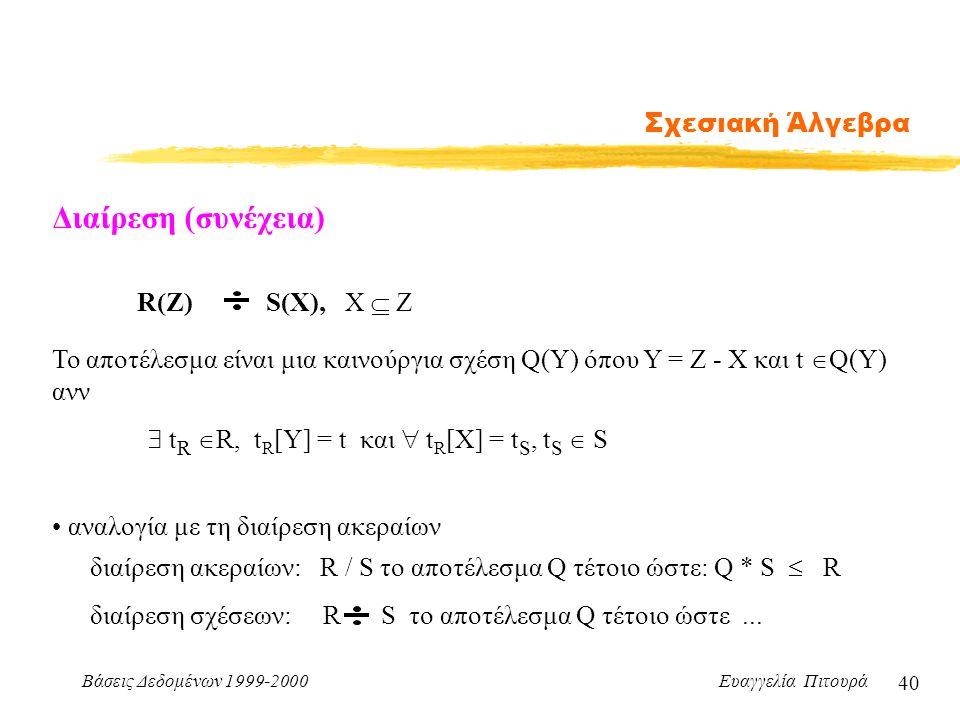 Διαίρεση (συνέχεια) Σχεσιακή Άλγεβρα R(Z) S(X), X  Z