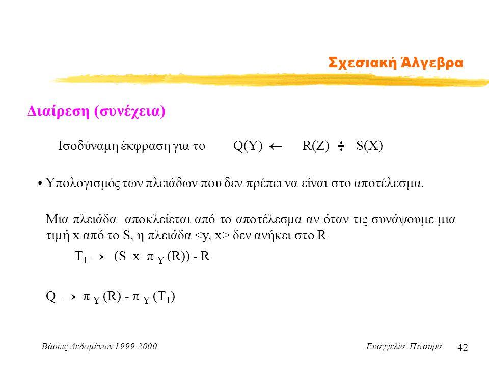 Διαίρεση (συνέχεια) Σχεσιακή Άλγεβρα Iσοδύναμη έκφραση για το