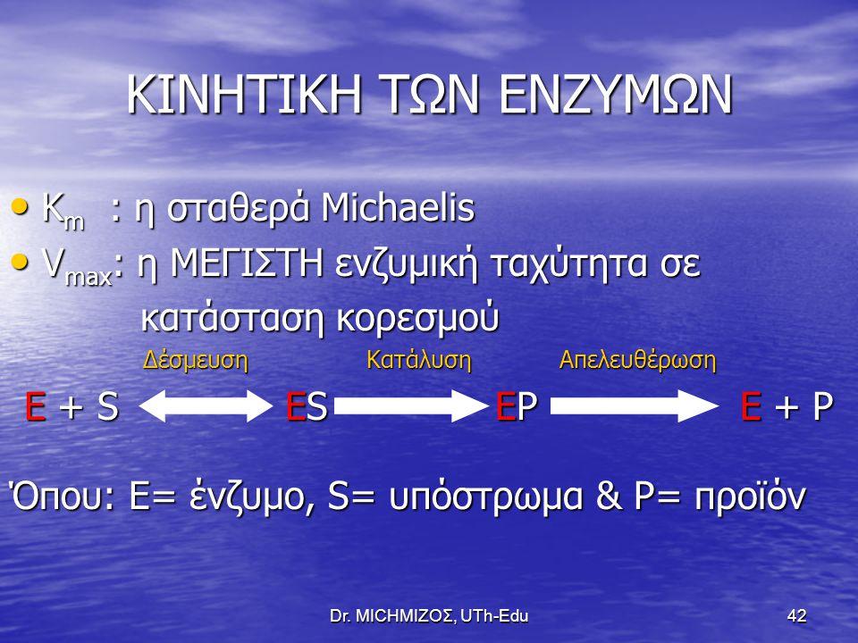 ΚΙΝΗΤΙΚΗ ΤΩΝ ΕΝΖΥΜΩΝ Km : η σταθερά Michaelis