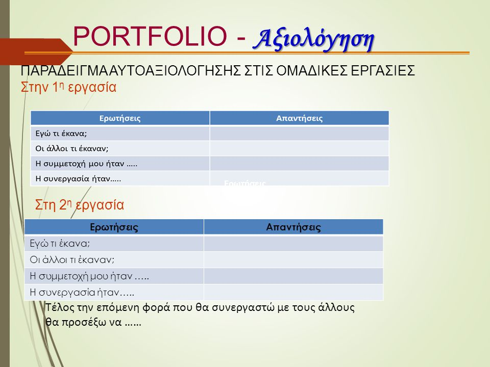 PORTFOLIO - Αξιολόγηση