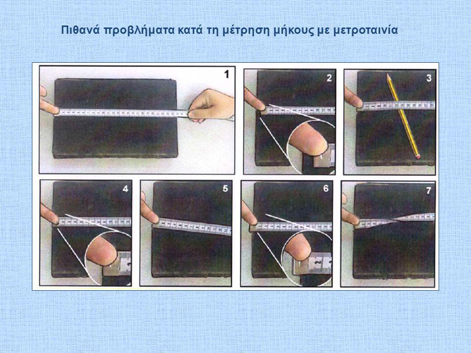 Πιθανά προβλήματα κατά τη μέτρηση μήκους με μετροταινία