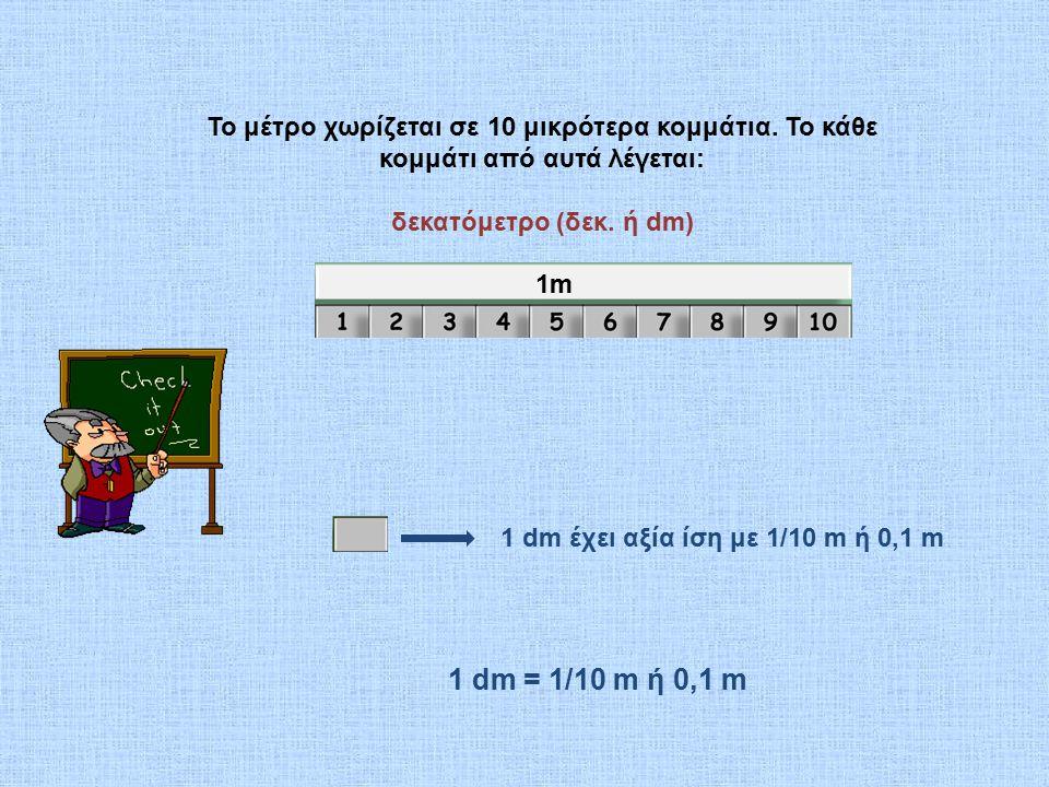 Το μέτρο χωρίζεται σε 10 μικρότερα κομμάτια