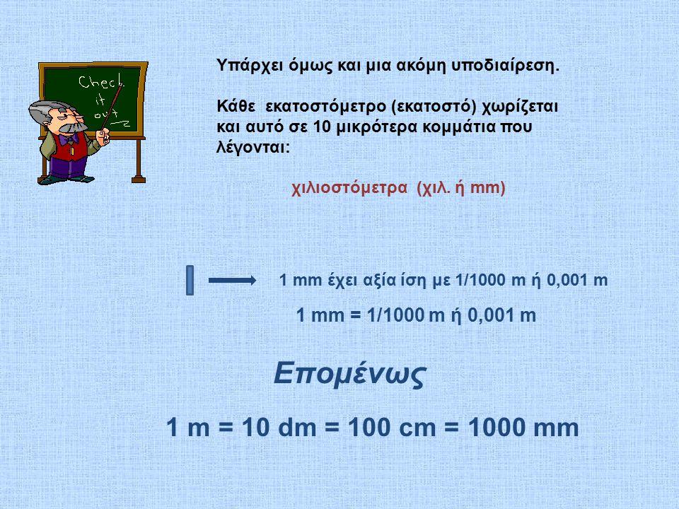 χιλιοστόμετρα (χιλ. ή mm)