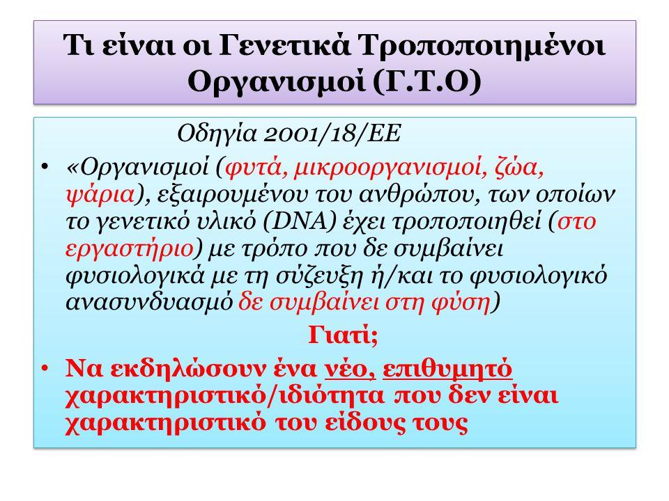 Τι είναι οι Γενετικά Τροποποιημένοι Οργανισμοί (Γ.Τ.Ο)