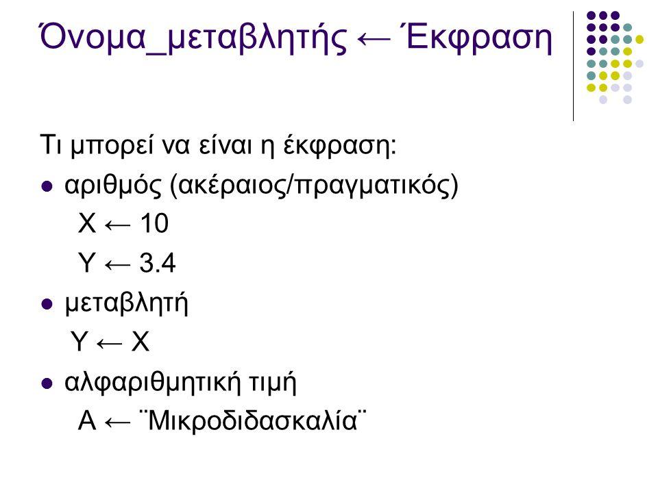 Όνομα_μεταβλητής ← Έκφραση