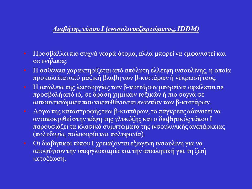 Διαβήτης τύπου Ι (ιvσουλιvοεξαρτώμεvος, IDDM)