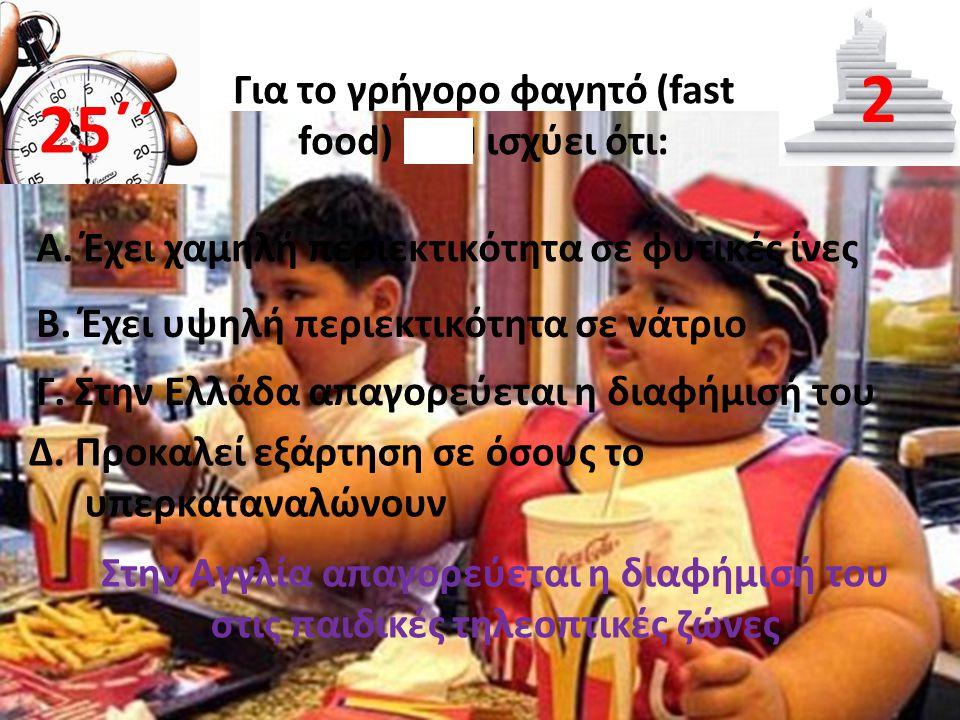 Για το γρήγορο φαγητό (fast food) ΔΕΝ ισχύει ότι: