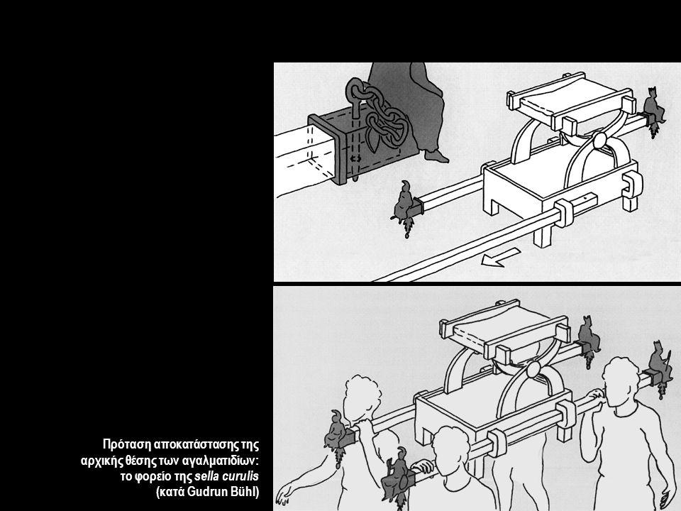 Πρόταση αποκατάστασης της αρχικής θέσης των αγαλματιδίων: το φορείο της sella curulis