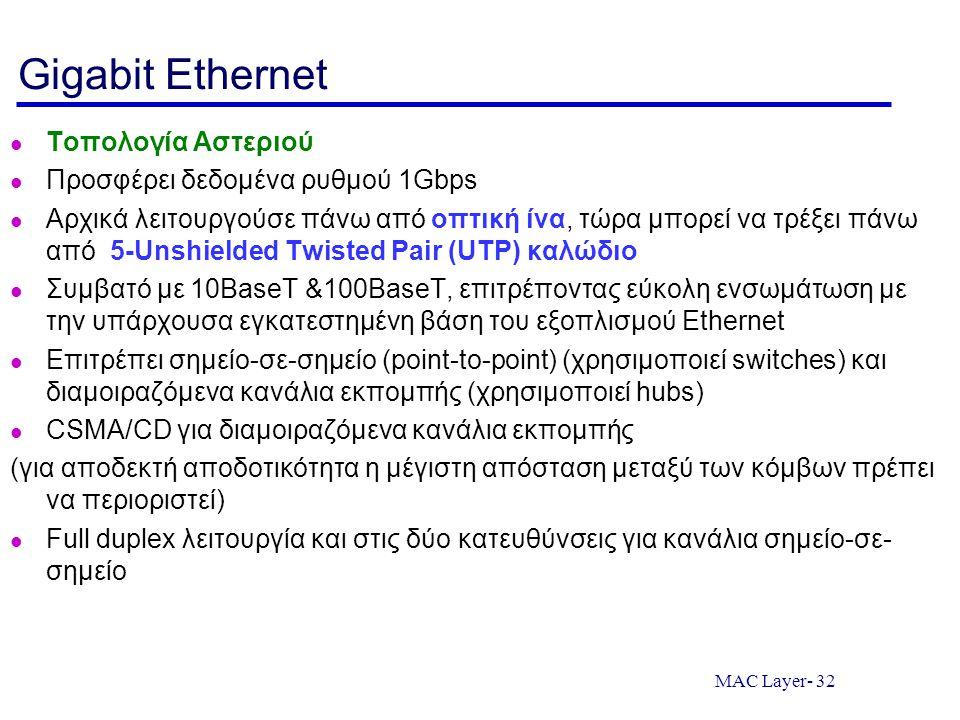 Gigabit Ethernet Τοπολογία Αστεριού Προσφέρει δεδομένα ρυθμού 1Gbps