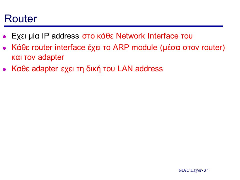 Router Εχει μία IP address στο κάθε Network Interface του