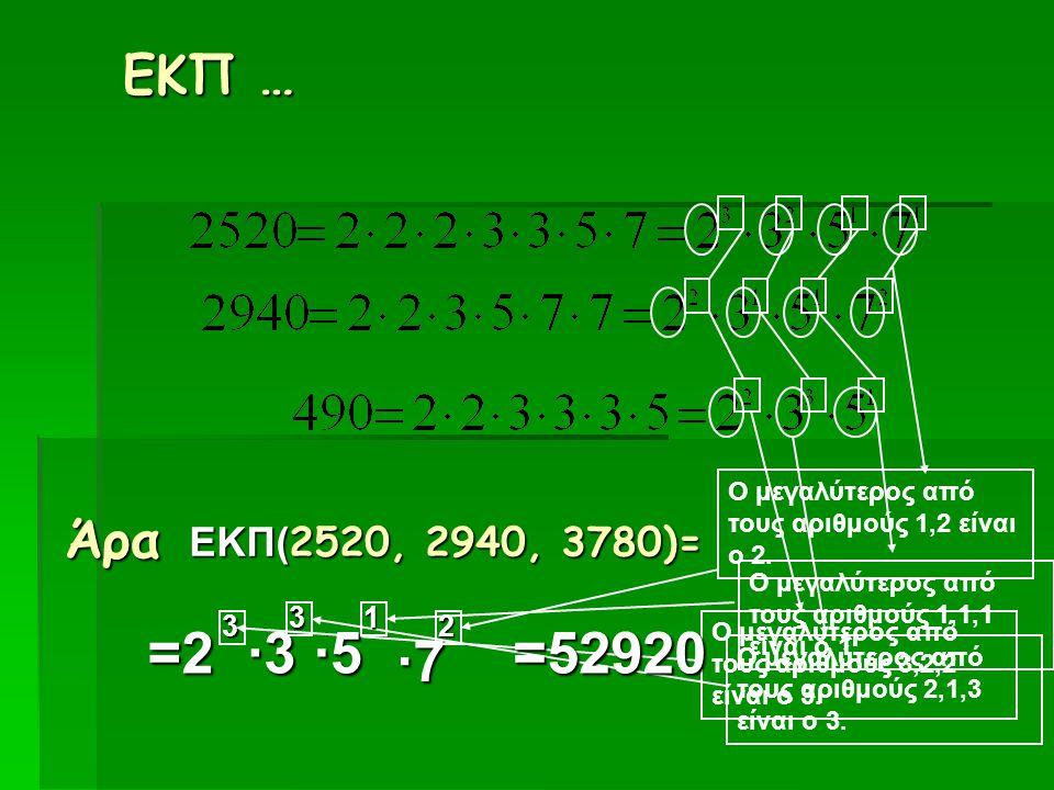 ΕΚΠ … Ο μεγαλύτερος από τους αριθμούς 1,2 είναι ο 2. Άρα. ΕΚΠ(2520, 2940, 3780)= Ο μεγαλύτερος από τους αριθμούς 1,1,1 είναι ο 1.