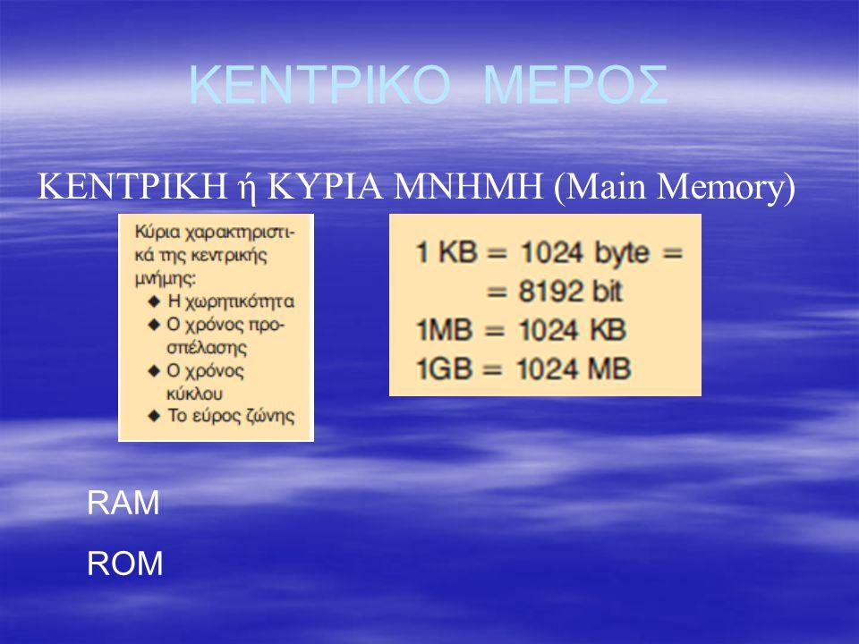 ΚΕΝΤΡΙΚΟ ΜΕΡΟΣ ΚΕΝΤΡΙΚΗ ή ΚΥΡΙΑ ΜΝΗΜΗ (Main Memory) RAM ROM