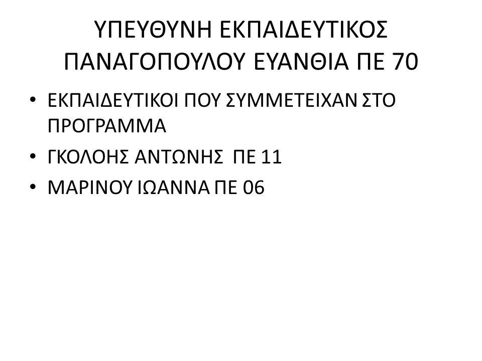 ΥΠΕΥΘΥΝΗ ΕΚΠΑΙΔΕΥΤΙΚΟΣ ΠΑΝΑΓΟΠΟΥΛΟΥ ΕΥΑΝΘΙΑ ΠΕ 70