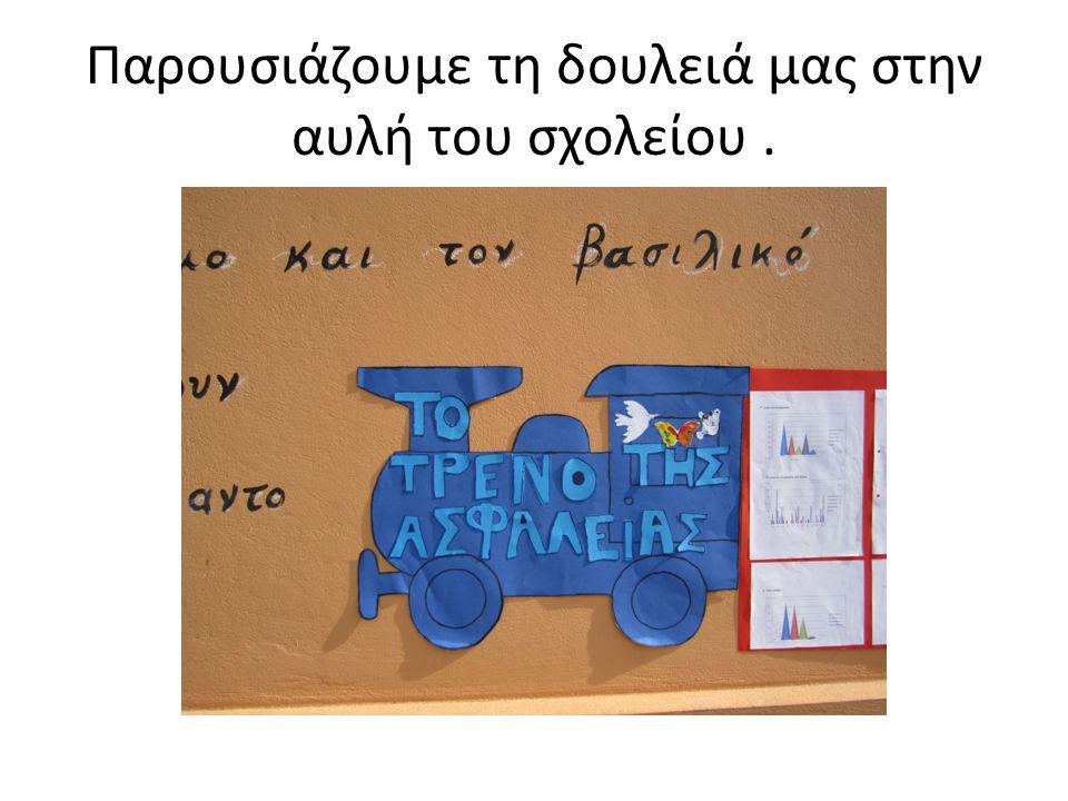 Παρουσιάζουμε τη δουλειά μας στην αυλή του σχολείου .