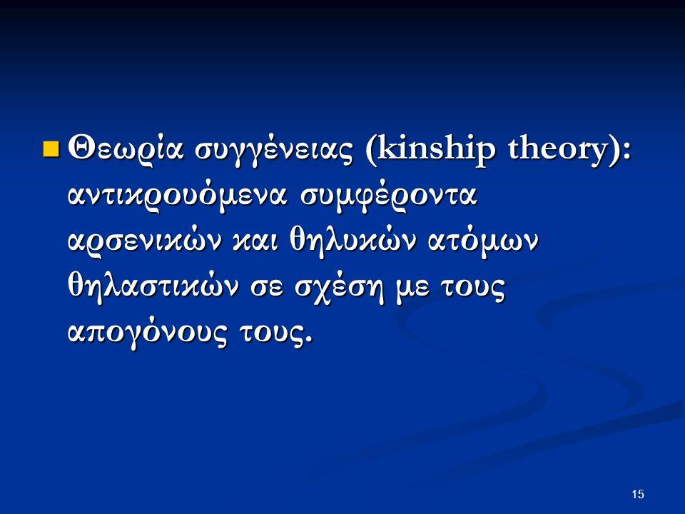 Θεωρία συγγένειας (kinship theory): αντικρουόμενα συμφέροντα αρσενικών και θηλυκών ατόμων θηλαστικών σε σχέση με τους απογόνους τους.