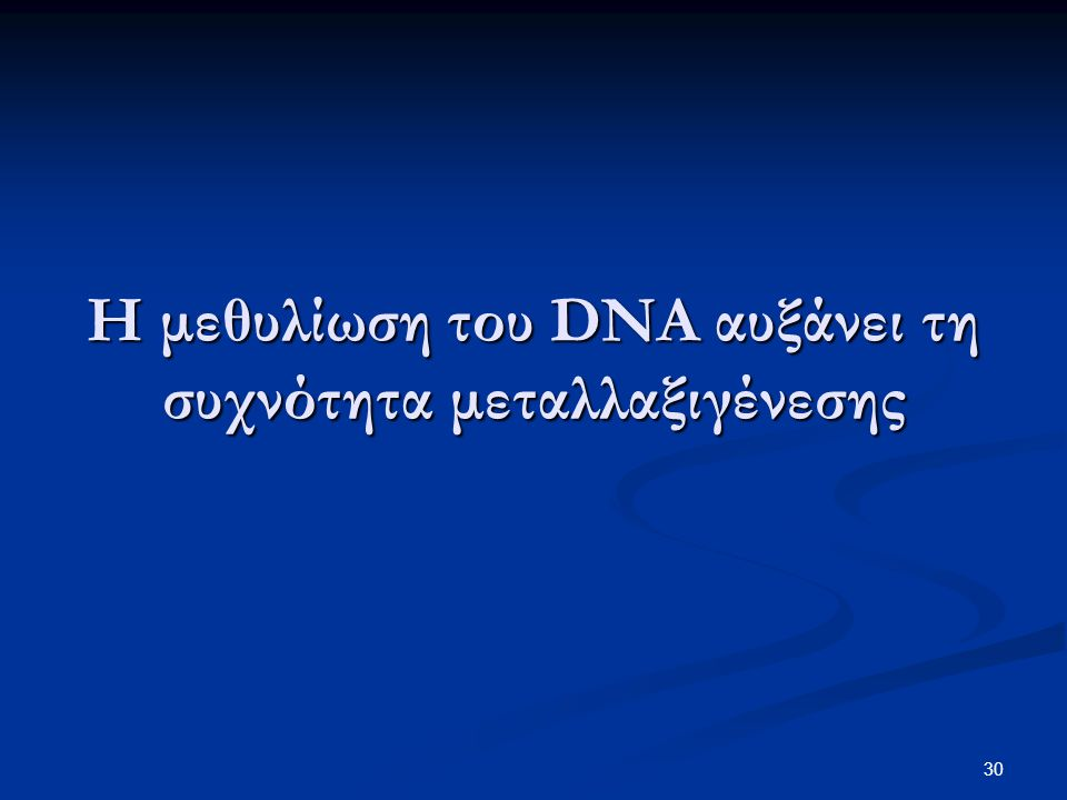 Η μεθυλίωση του DNA αυξάνει τη συχνότητα μεταλλαξιγένεσης