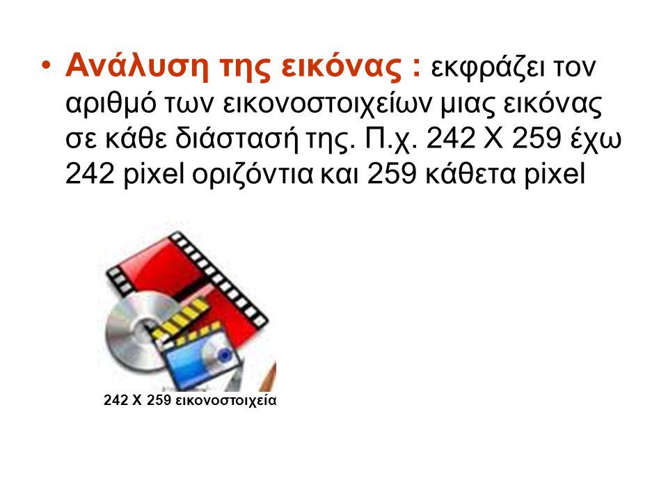 Ανάλυση της εικόνας : εκφράζει τον αριθμό των εικονοστοιχείων μιας εικόνας σε κάθε διάστασή της. Π.χ. 242 Χ 259 έχω 242 pixel οριζόντια και 259 κάθετα pixel