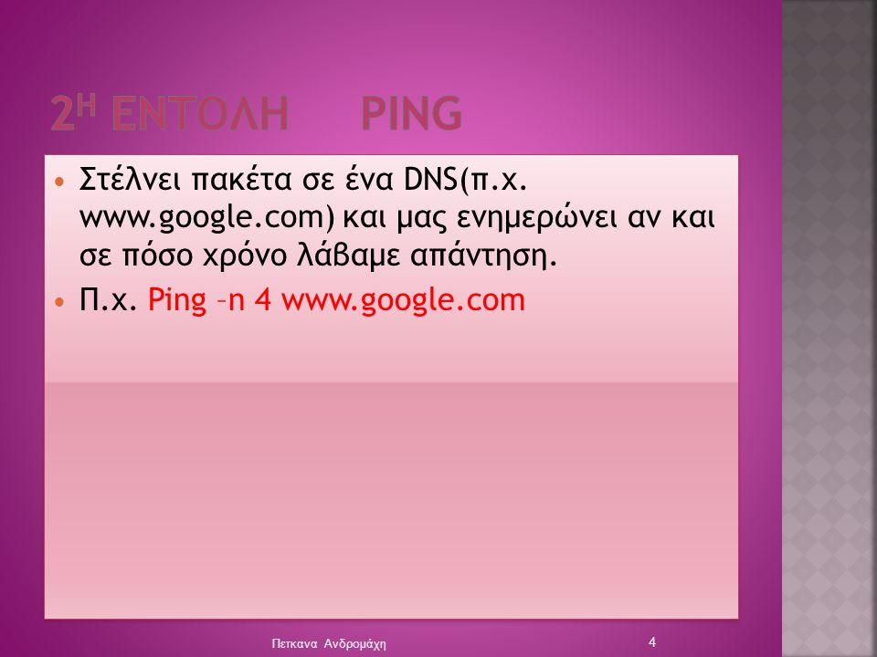 2η Eντολη ping Στέλνει πακέτα σε ένα DNS(π.χ. www.google.com) και μας ενημερώνει αν και σε πόσο χρόνο λάβαμε απάντηση.