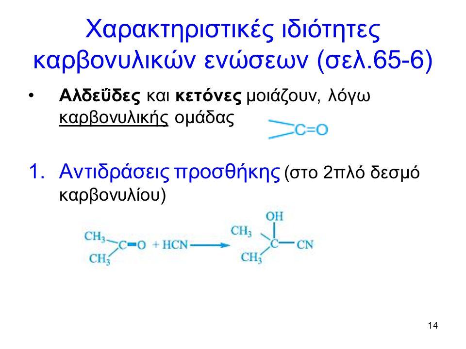 Χαρακτηριστικές ιδιότητες καρβονυλικών ενώσεων (σελ.65-6)