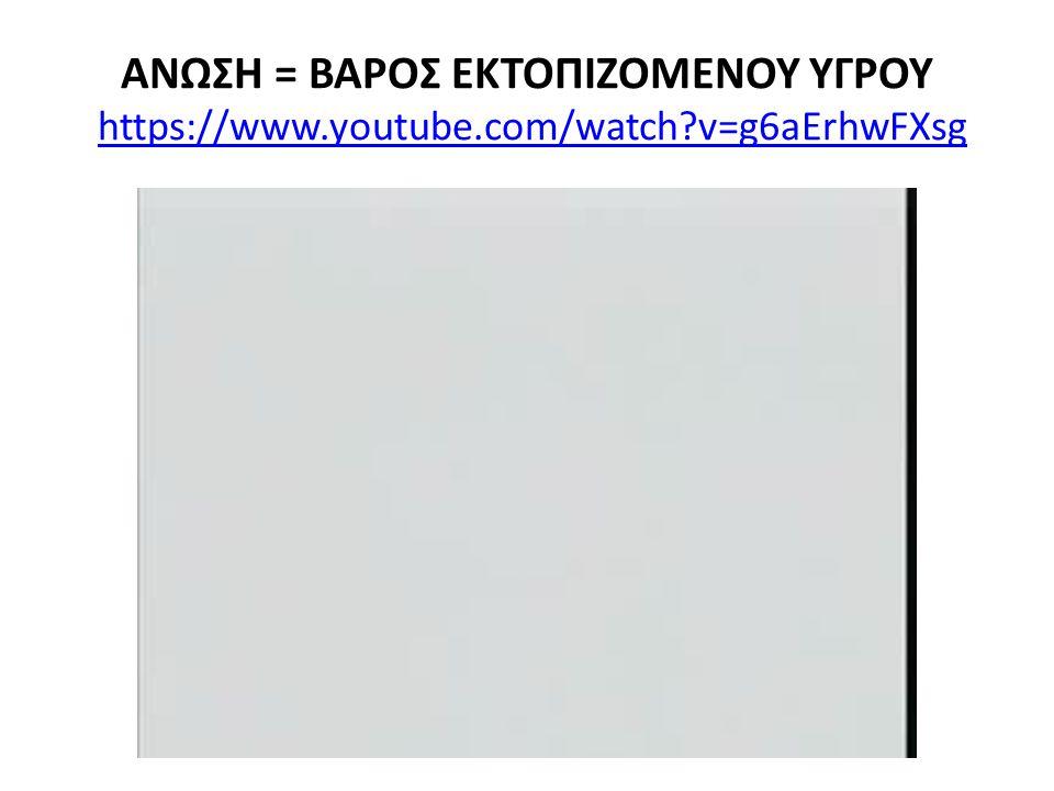 ΑΝΩΣΗ = ΒΑΡΟΣ ΕΚΤΟΠΙΖΟΜΕΝΟΥ ΥΓΡΟΥ https://www. youtube. com/watch