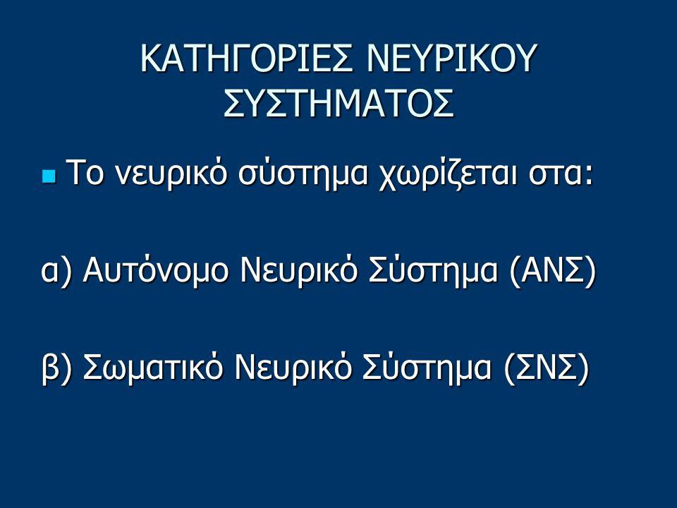 ΚΑΤΗΓΟΡΙΕΣ ΝΕΥΡΙΚΟΥ ΣΥΣΤΗΜΑΤΟΣ